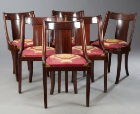 Set Of Six French Empire Style Carved Mahogany Dining