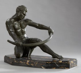 French Patinated Spelter Art Deco Figure, C. 1940, Of A