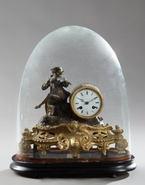French Gilt And Patinated Spelter Figural Mantel Clock,