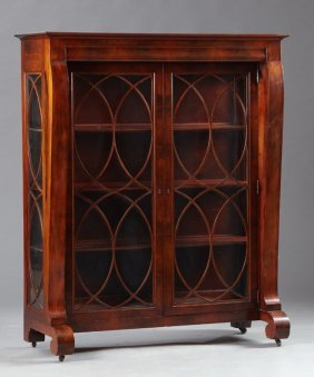 American Classical Carved Mahogany Bookcase, Early 20th