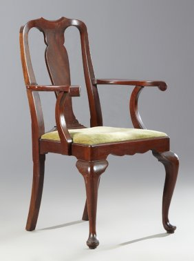 George Ii Style Carved Mahogany Armchair, Mid 20th C.,