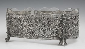 German .800 Silver And Crystal Center Bowl, 19th C., In