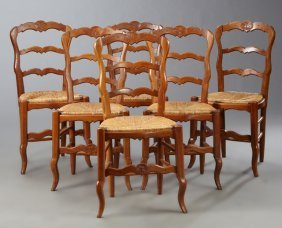 Set Of Six French Provincial Carved Cherry Rush Seat