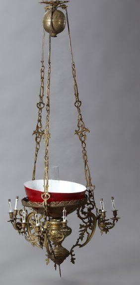 French Brass Pull Down Ten Light Chandelier, Late 19th