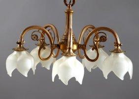 French Louis Xvi Style Gilt Bronze Five Light