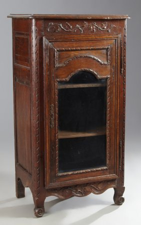 French Brittany Carved Oak Confiturier, 19th C., The