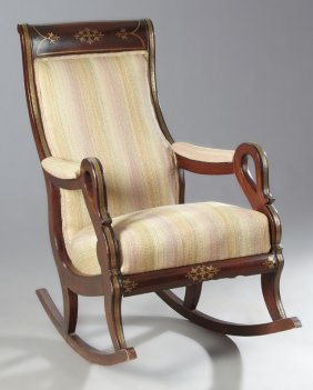 Regency Style Anglo-indian Brass Inlaid Rocking Chair,