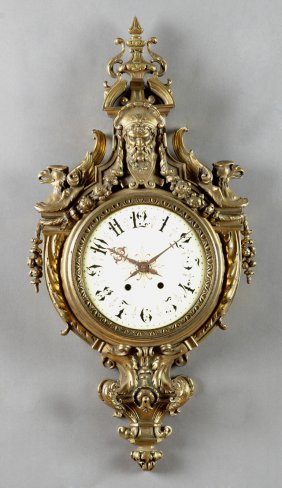 Bronze Cartel Clock, 19th C., With A Pierced Masque
