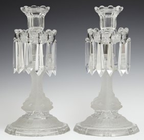Pair Of Frosted And Clear Glass Candlesticks, Early