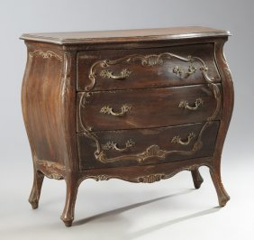 Louis Xv Style Carved Walnut Bombe Commode, Mid 20th