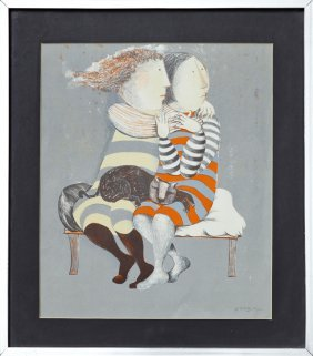 "Graciela Rodo Boulanger (1935- ), ""couple With Cat,"""