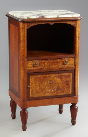 French Louis Xvi Style Marquetry Inlaid Walnut Marble