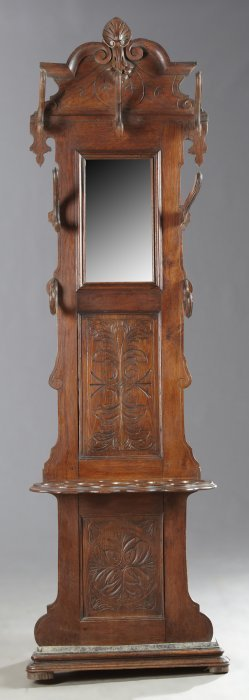 French Henri Ii Style Carved Oak Hall Tree, Late 19th