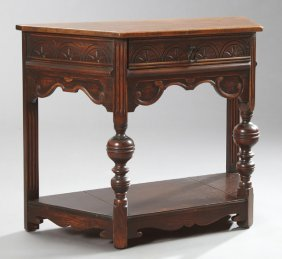 Jacobean-style Carved Oak Side Table, C. 1903-1927,