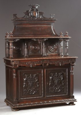 French Baroque St. Hubert Style Carved Beech Sideboard,