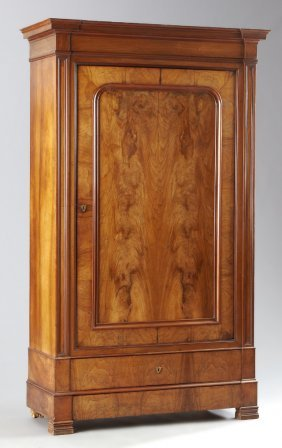 French Louis Xiv Style Carved Walnut Armoire, Mid 19th