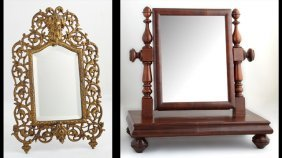 Two Antique Mirrors, 19th C., One An English Mahogany