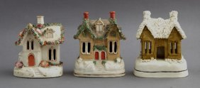 Group Of Three English Staffordshire Cottage Pastille