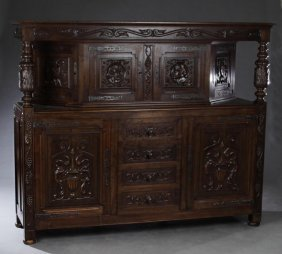 French Jacobean Style Carved Walnut Court Cupboard,