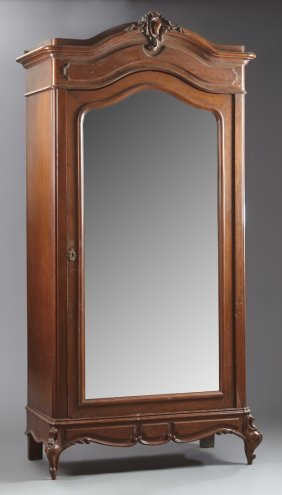 Louis Xv Style Carved Mahogany Armoire, C. 1900, The