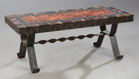 French Mid Century Modern Tile Top Iron Coffee Table,