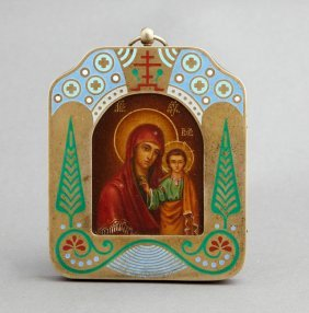 Diminutive Russian Icon Of The Virgin Of Kazan, 19th