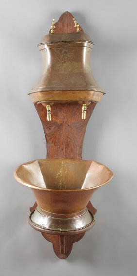 French Provincial Copper Lavabo, 19th C., And Basin,