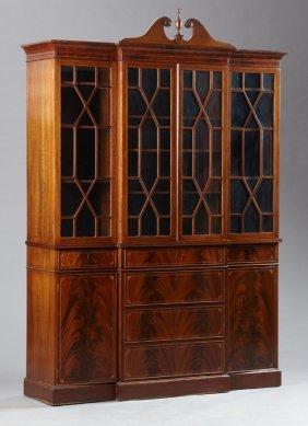 Hepplewhite Style Inlaid Mahogany Breakfront Bookcase,