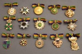 Mardi Gras- Group Of Fifteen Rex Lady's Ducal Badges,