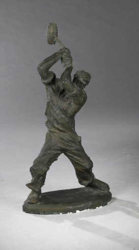 """Makoto Oike, """"the Worker,"""" Mid 20th C., Painted Clay"""