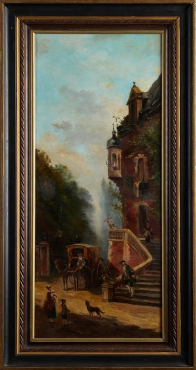 "French School, ""arrival Of A Carriage At A Castle,"""