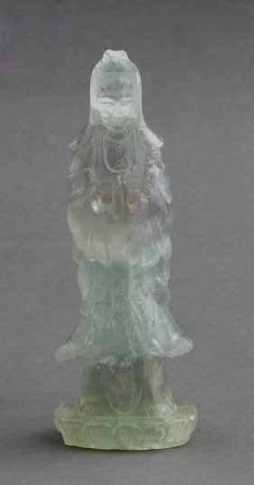 Chinese Carved Rock Crystal Kwan Yin, Early 20th C.,