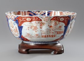Japanese Imari Scalloped Rim Punch Bowl, 19th C., With