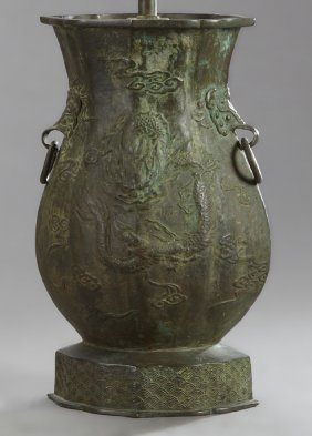 Japanese Patinated Bronze Baluster Lamp, Early 20th C.,