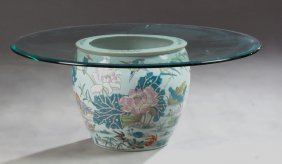 Large Chinese Porcelain Fishbowl, 20th Century,