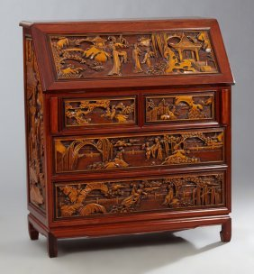 Chinese Carved Mahogany Slant Front Desk, 20th C., The