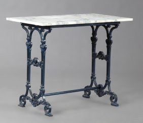 French Belle Epoque Cast Iron Marble Top Bistro Table,