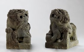 Pair Of Cast Stone Foo Dogs, Late 20th C., Each