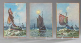 """French School, """"boats On The Sea,"""" 20th C., Three Oils"""