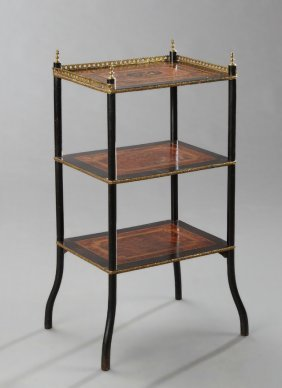 French Empire Style Marquetry Inlaid Three Tier Stand,