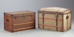 Two French Iron Bound Travel Trunks, C. 1900,