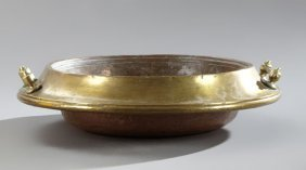 Brass And Hammered Copper Brazier Bowl, Early 20th C.,