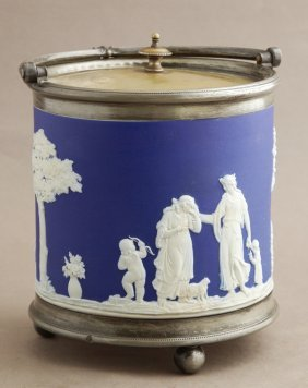 Wedgwood Blue Jasperware Biscuit Barrel, C. 1900, With