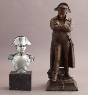 Two French Statues Of Napoleon Bonaparte, One A Pewter