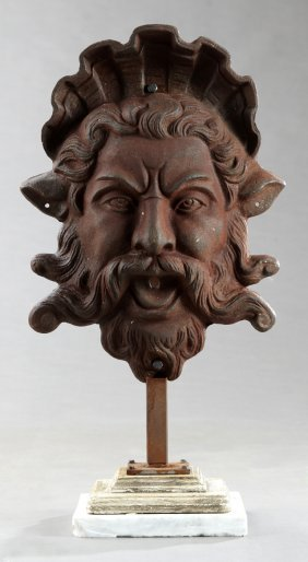 Cast Iron Wall Fountain Head, 19th C., In The Form Of