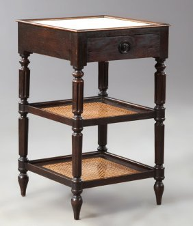 French Louis Xvi Style Carved Oak Marble Top