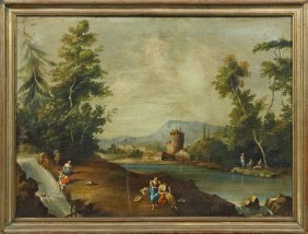 "Continental School, ""bathers On The Shore,"" Early 19th"