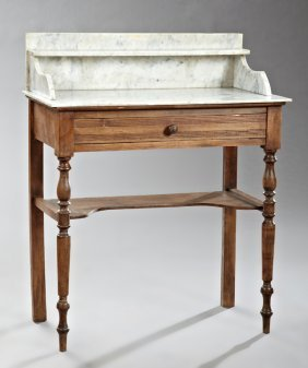 French Louis Philippe Carved Pine Marble Top Washstand,