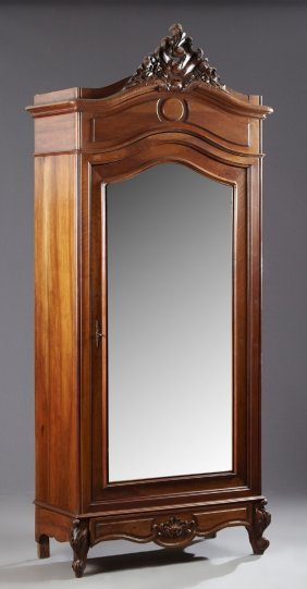 French Louis Xv Style Carved Walnut Armoire, C. 1900,