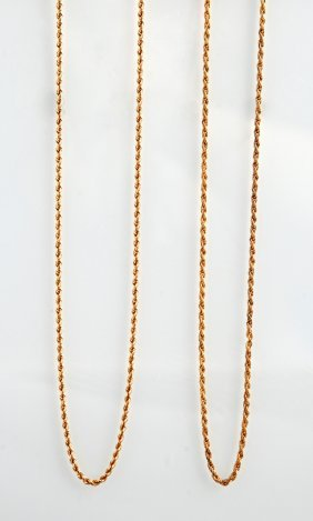 18k Yellow Gold Twisted Link Necklace, Together With A